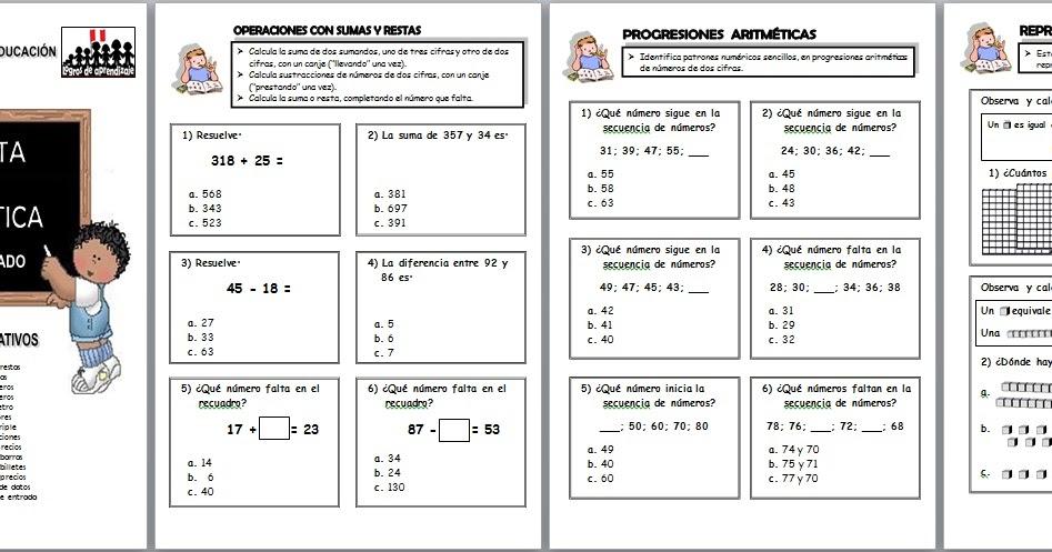 Matemática para segundo grado tipo ECE ~ RUTAS DEL APRENDIZAJE