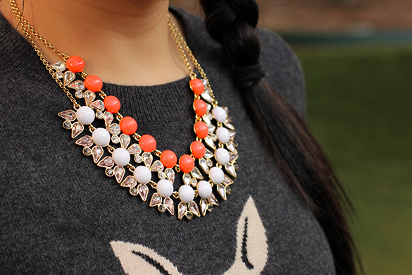 J.Crew Pearls and Petals Coral and White Necklace