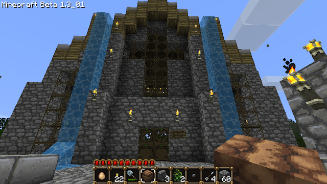 minecraft cathedral with waterfall