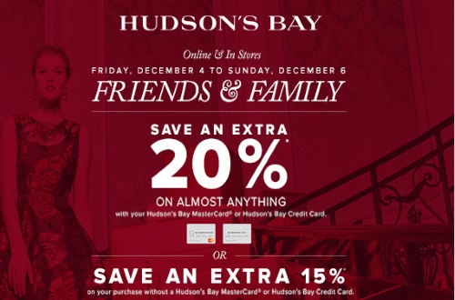 Hudson's Bay Friends & Family Extra 20% Off + 10% Off Beauty