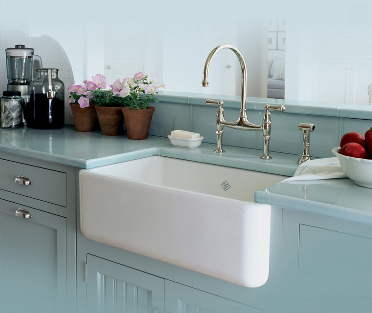 White Apron Kitchen Sink : the crisp white sink against the teal cabinets. It makes this kitchen ...