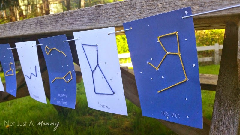Constellation Lacing Cards garland closeup