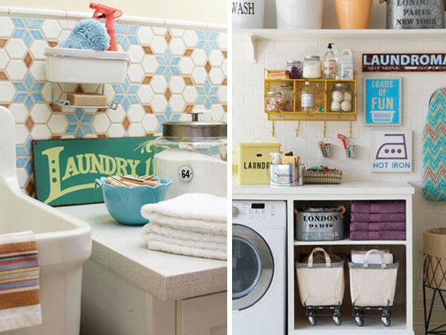 lavanderia com quadrinhos na parede