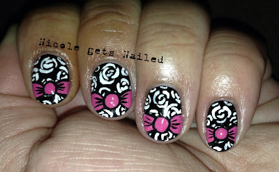 White Vintage Roses on Black with Pink Bows