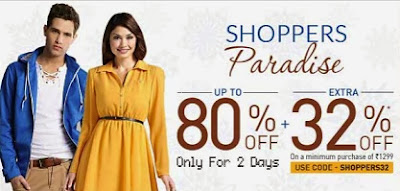 Enjoy Flat 32% Additional Off on Already upto 80% Discounted Price (Valid on Cart Value of Rs.1299)