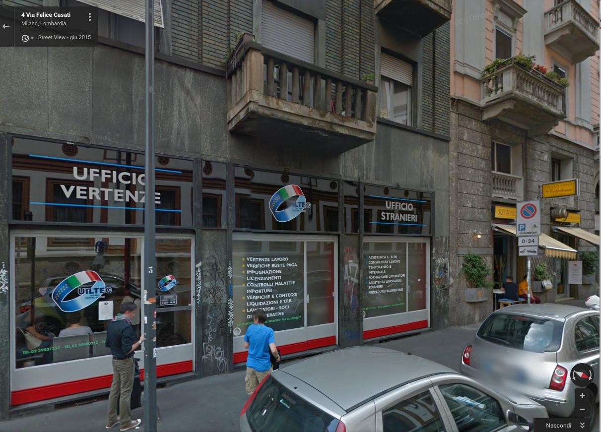 La sede dell'ufficio vertenze della Uiltec a Milano