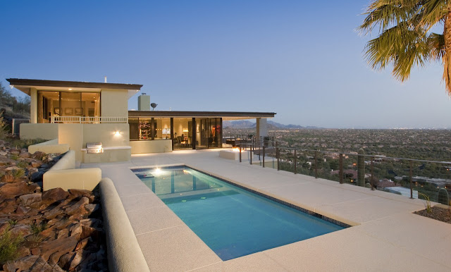 Modern home on the desert hill with swimming pool