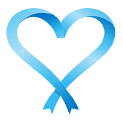 青いハート型のリボンのイラスト