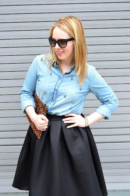 black-midi-skirt-chambray-top