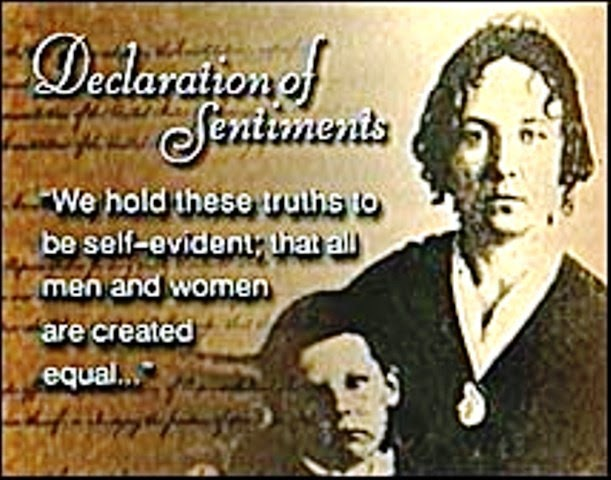 elizabeth cady stanton declaration of sentiments and resolutions essay Elizabeth cady stanton biography women's rights activist elizabeth cady stanton was an early leader of the woman's rights movement, writing the declaration of sentiments as a call to arms for female equality.