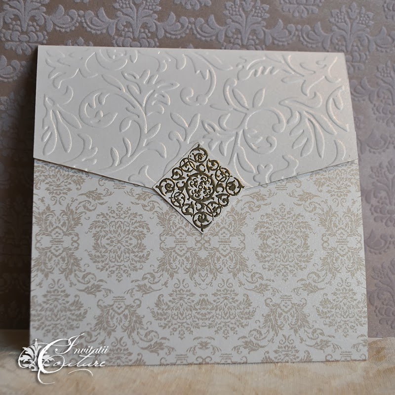 Elegant Damask and Vines Wedding Invitation with Medieval Style Seal ...