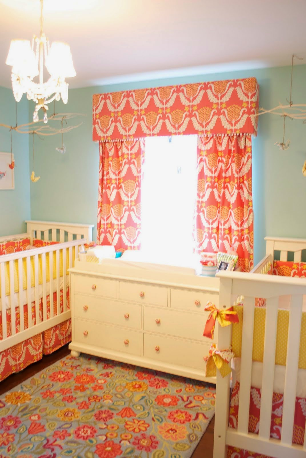 Amazing Design Of Nursery Colors Twins Orange