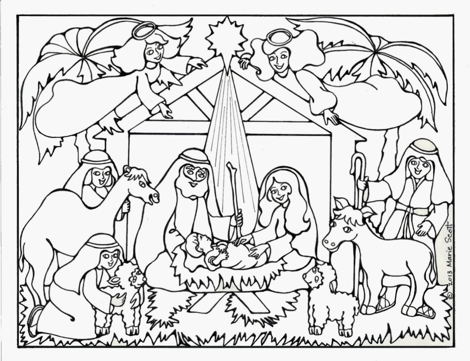 Serendipity hollow nativity coloring book page for Coloring pages baby jesus in manger