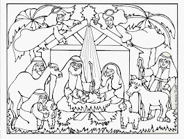 Printable Nativity Stable Coloring Page