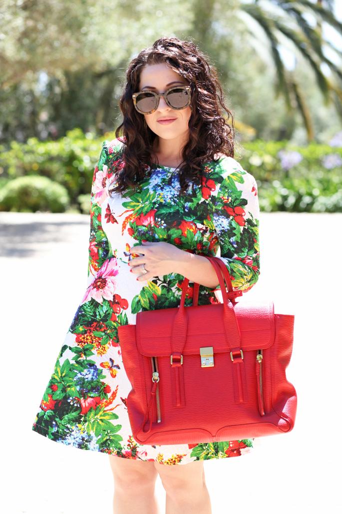 curly-brunette-hair-karen-walker-sunglasses-tropical-floral-dress-red-phillip-lim-pashli-satchel-king-and-kind-blog-model-co-lipstick