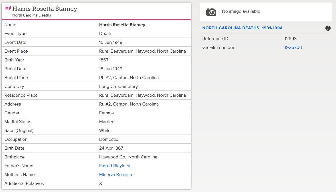 Dred Blalock Family History Harris Rosetta Blalock Stamey 1867 1949