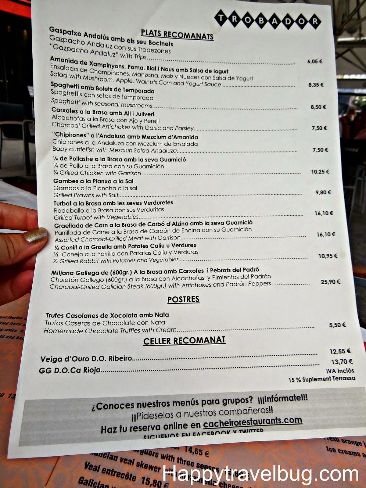 Trobador menu in Barcelona, Spain