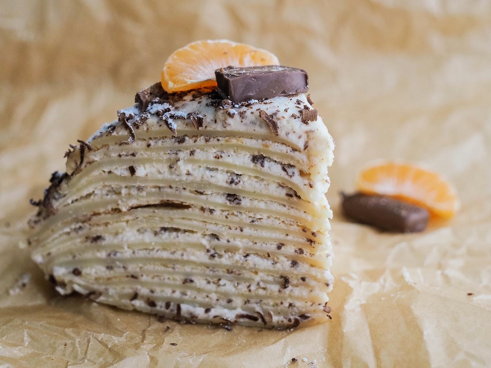 Блинный тортик со сметанным кремом и маскарпоне