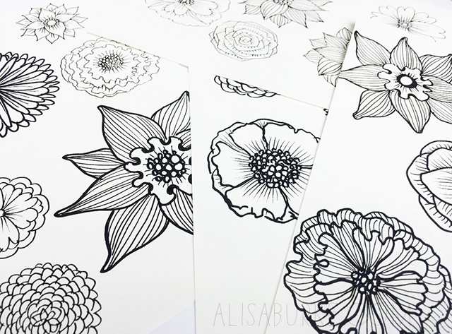 Alisaburke paper flower letters i started by drawing lots and lots of flowers in different sizes yes it would be much easier to make photo copies but i like the idea of flowers drawn by mightylinksfo