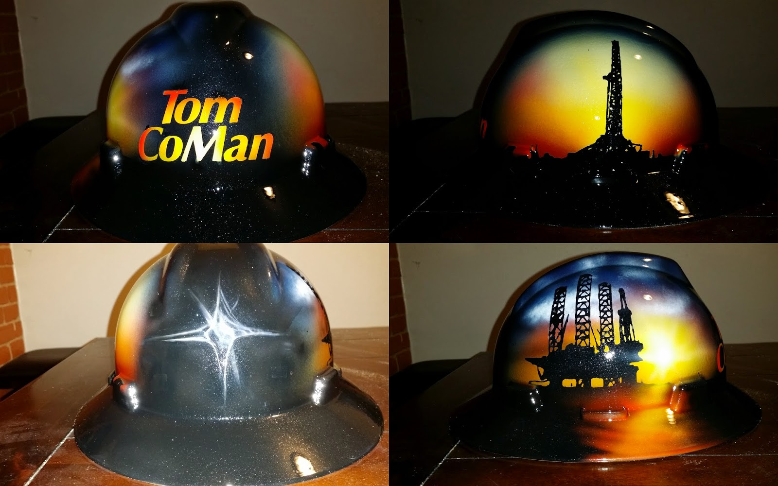 company man hard hat with detailed sunset on jackup rig