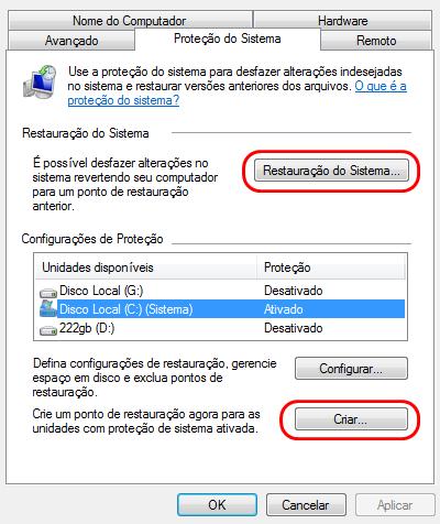 A janela de pontos de restauração no Windows 7