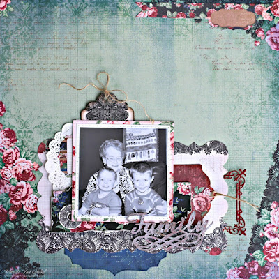 Family page featuring Love and Lace collection by BoBunny designed by Rhonda Van Ginkel Easy Page from Pages Three Ways