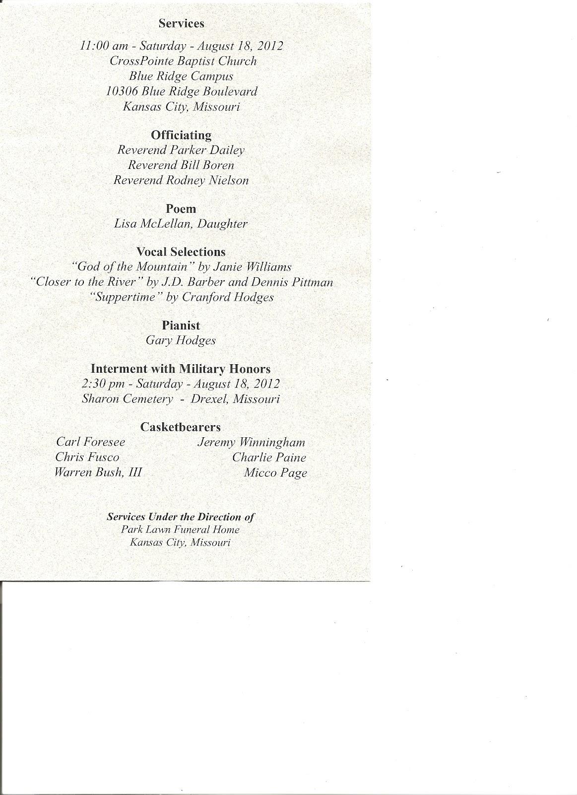 Gypsy Scholar  Burial Ceremony Program