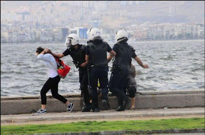 Turkish Police Assaulting A two girls