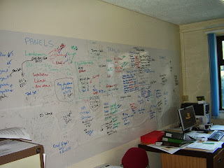 Juggling priorities (c) Martin Locock   A photo of a large office whiteboard annotated with multiple tasks and dependencies