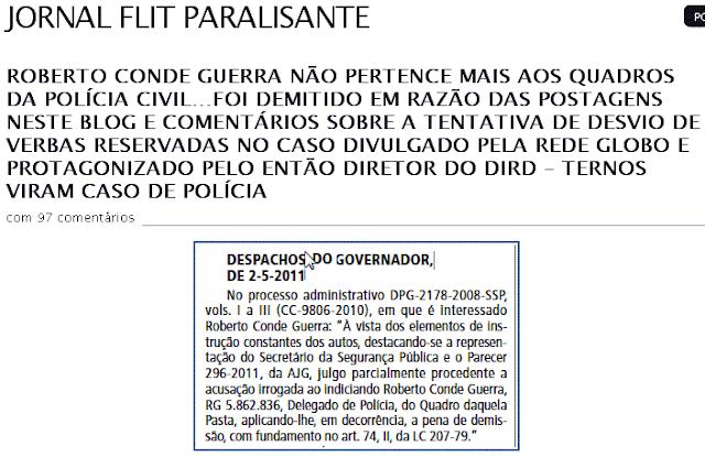 nota no diario oficial da demissão do delegado Roberto Conde Guerra por Geraldo Alckmin