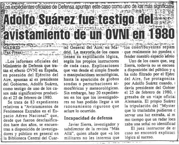 el ovni qie vio Adolfo Suárez