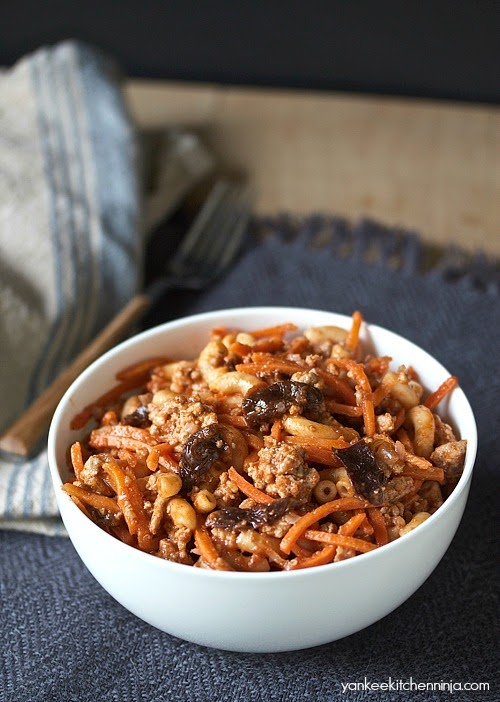 Carrot and turkey pasta