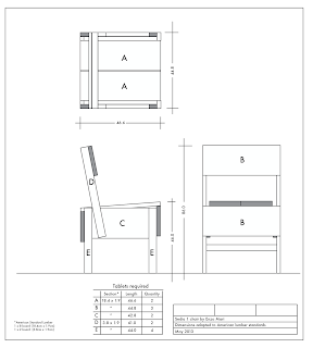 Enzo Mari Sedia 1 chair plans adapted to American lumber standards