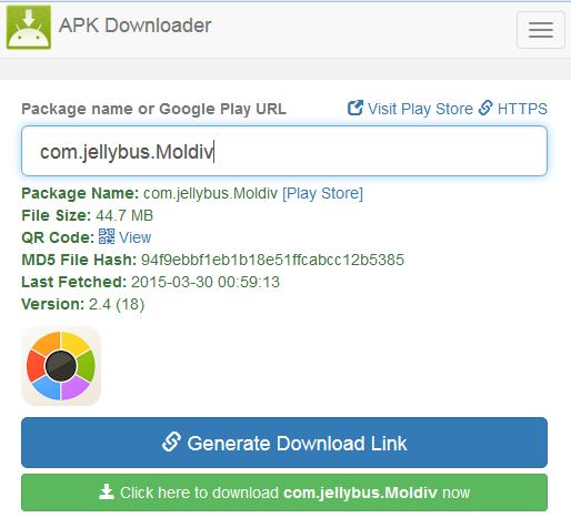 Ejemplo de cómo usar APK Downloader para descargar una aplicación.