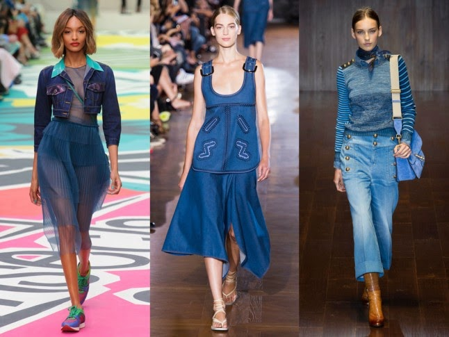 denim trend, SS25 trends, SS15 fashion trends, Diane Von Furstenburg SS15, Burberry SS15