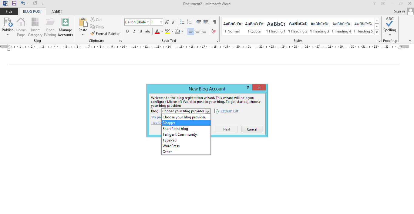 Posting Artikel Blog Melalui Microsoft Office Word 2013 3