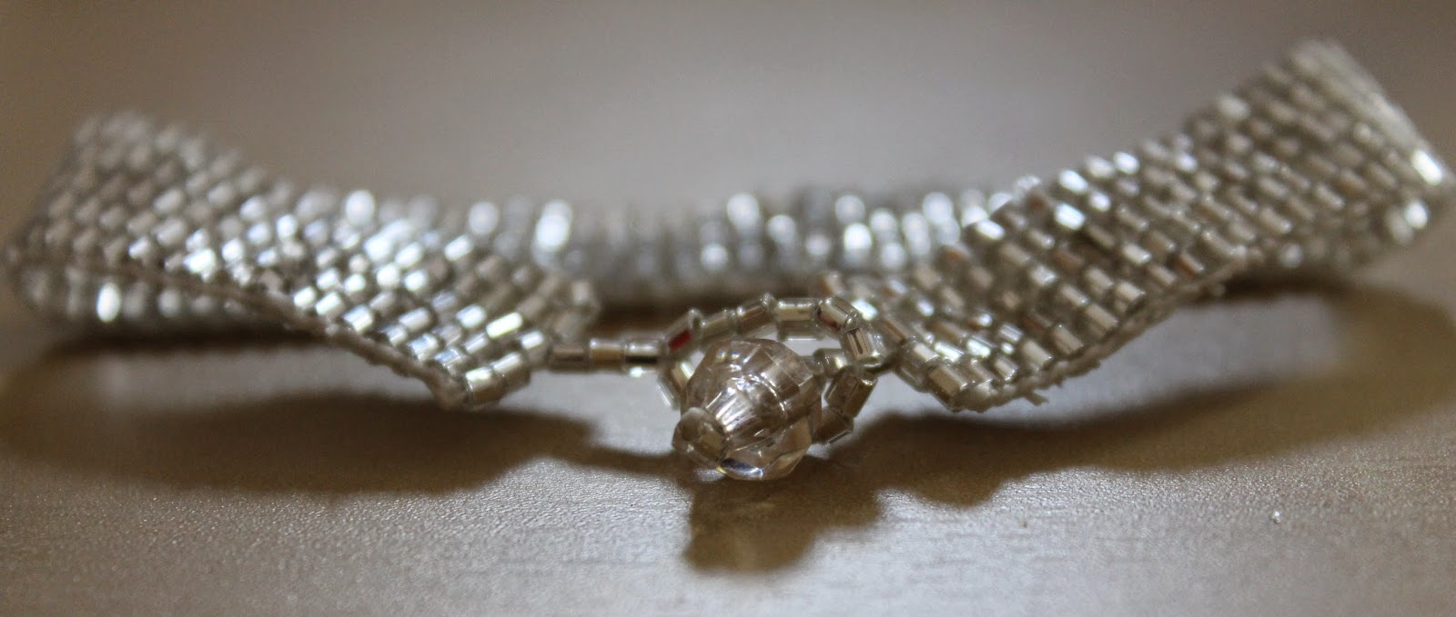 shiny silver bead loom bracelet