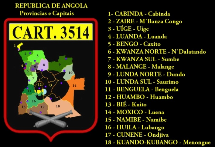 REPÚBLICA POPULAR de ANGOLA - Mapa Administrativo