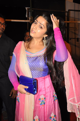 Charmi at audio launch in pink salwar suit