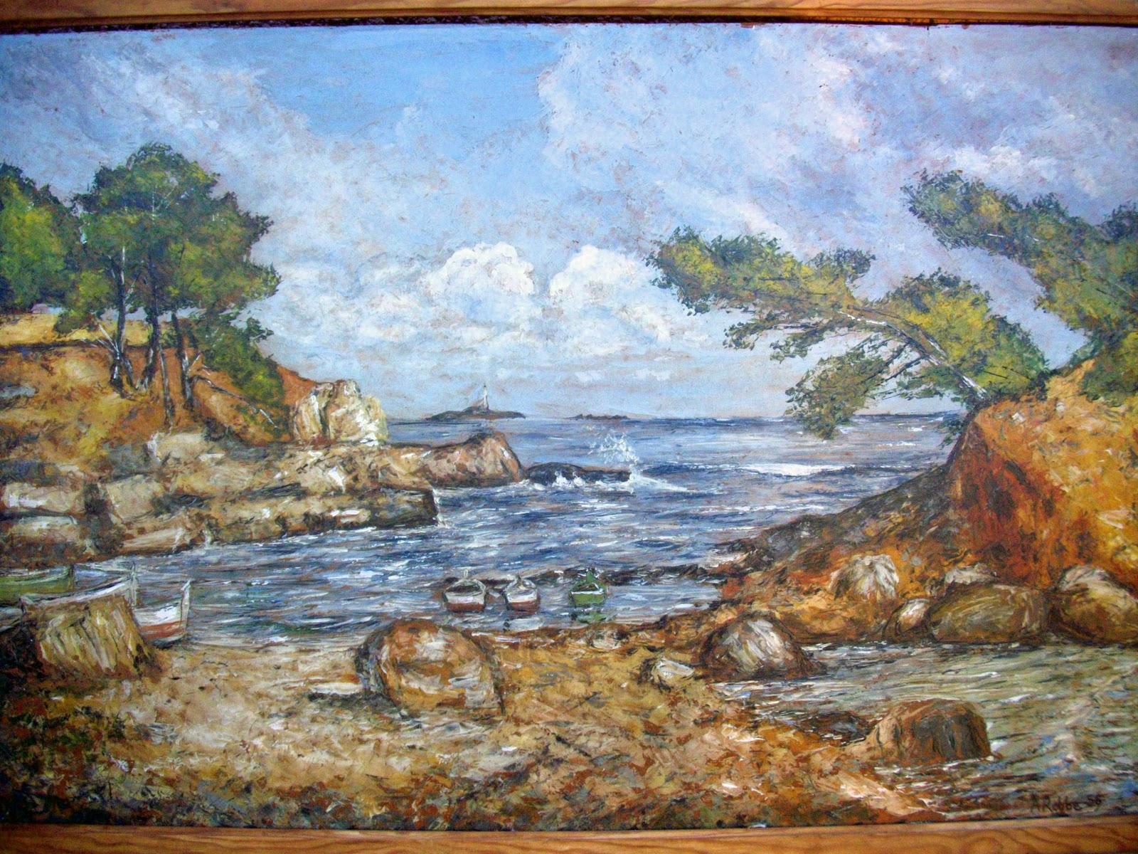 Ancien tableau marine bord de mer calanques sign i for Delta 0 tableau de signe
