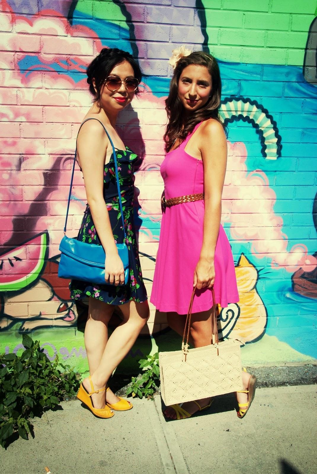 pink dress navy grape dress heart sunglasses floral headband graffiti bubble gum