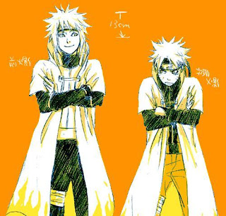 Naruto and Minato side by side, father and son, orange
