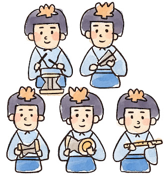 五人囃子のイラスト(ひな祭り)