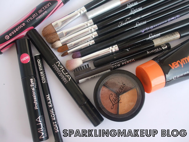 MUA primer, MUA concealer, essence mascara, very me peach me, color studio pro, soft kohl