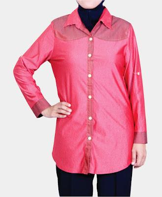 Model Kemeja Muslimah Plus Size warna Merah