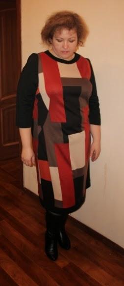 теплое платье из джерси для полных женщин