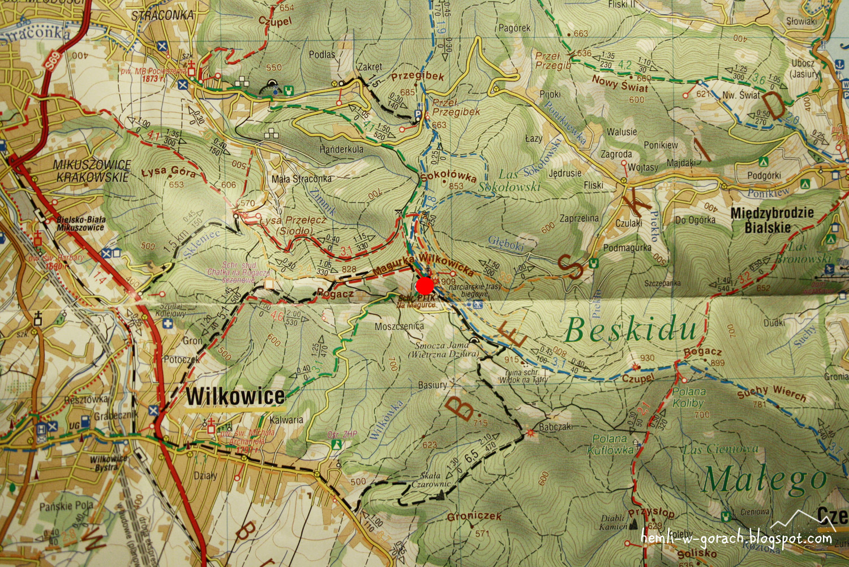 Schronisko na Magurce Wilkowickiej na mapie