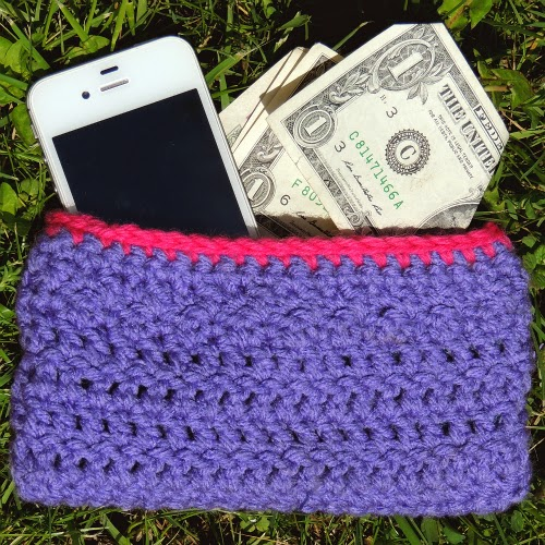 Finished Pink and Purple Crochet Wallet With Liner