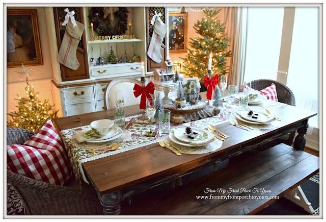 Farmhouse Christmas Dining Room-Cottage Style-Famrhouse Table- From My Front Porch To Yours