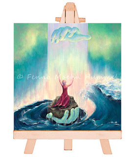 Bijbels kadoartikelen: Eeuwig Licht, miniatuur schilderij als cadeau bij bijv. belijdenis of doop. Atelier for Hope Doeitnchem